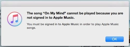 ˜Not Firmado en el mensaje de error de iTunes de Apple Music
