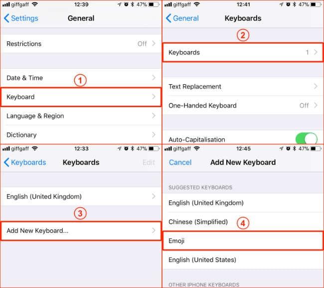 No hay Teclado Emoji en el iPhone, iPad y otros iDevices