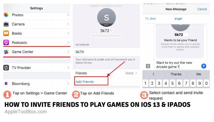 Cómo invitar a amigos usando el Game Center en iOS 13+ y iPadOS+.