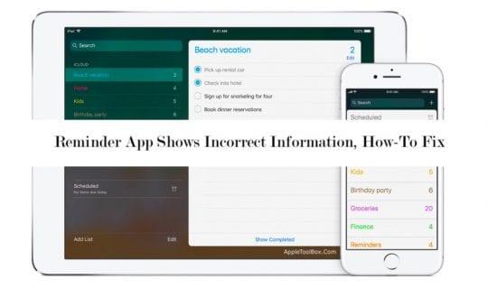Cómo arreglar la aplicación de recordatorios que muestra información incorrecta