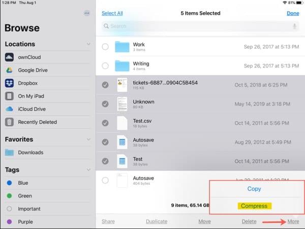 Cómo comprimir y descomprimir archivos en tu iPad con iPadOS