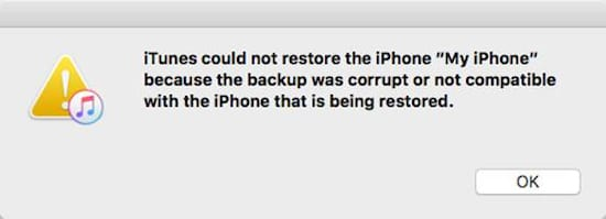 iTunes no podía hacer copias de seguridad o restaurarlas porque la copia de seguridad de 19 estaba corrupta o no era compatible.